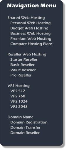 nav menu Business Web Hosting